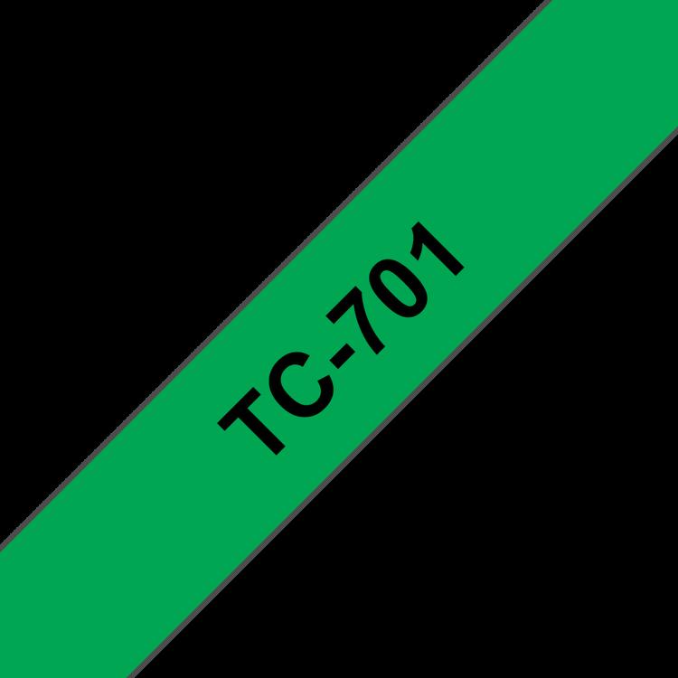 Brother TC-701 original etikettape, svart på grön, 12 mm