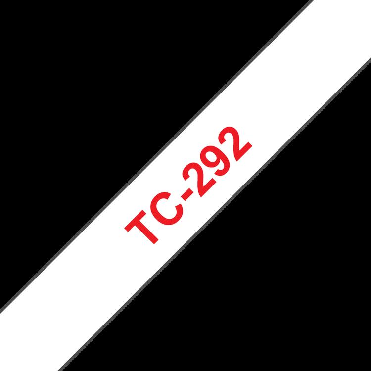 Brother TC292 original etikettape, röd på vit, 9 mm