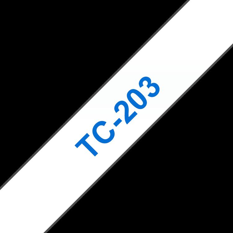 Brother TC-203 original etikettape, blå på vit, 12 mm