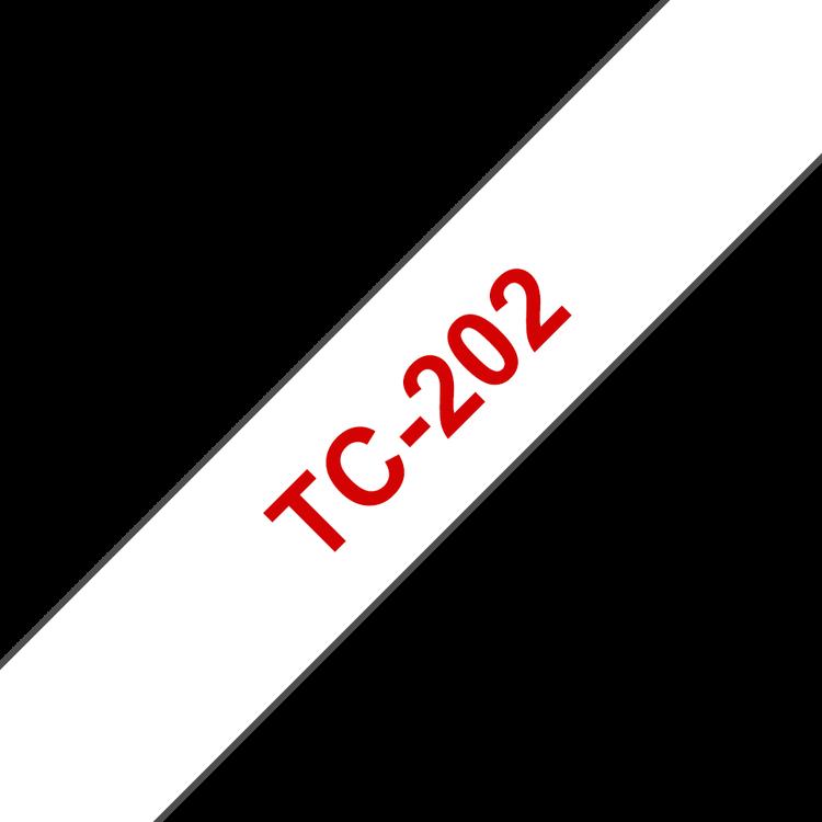 Brother TC-202 original etikettape, röd på vit, 12 mm