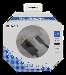 Deltaco USB 3.0 Typ C -> DisplayPort 1.2 2m svart USBC-DP200-K