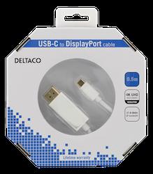 Deltaco USB 3.0 Typ C -> DisplayPort 1.2 0,5m vit USBC-DP051-K
