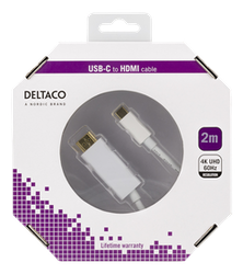 Deltaco USB Typ C -> HDMI 2m vit USBC-HDMI1021-K