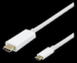 Deltaco USB Typ C -> HDMI 1m vit USBC-HDMI1011-K