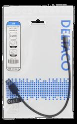 Deltaco USB 3.1 Typ A -> C 0,25m svart tyg USBC-1150