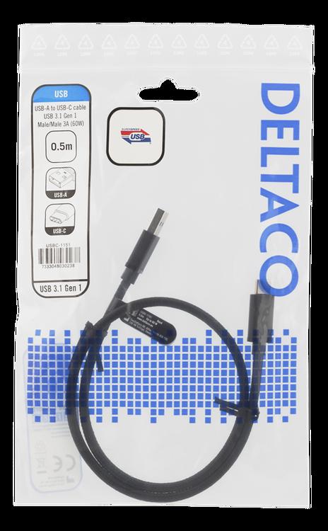 Deltaco USB 3.1 Typ A -> C 0,5m svart tyg USBC-1151