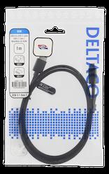 Deltaco USB 3.1 Typ A -> C 1m svart tyg USBC-1152