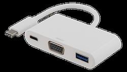 Deltaco USB-C till VGA och USB Typ A adapter, USB-C ho för laddning, 60W, 1080P, 5Gb/s, vit
