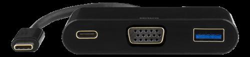 Deltaco USB-C till VGA och USB Typ A adapter, USB-C ho för laddning, 60W, 1080P, 5Gb/s, svart