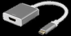 Deltaco USB-C till HDMI adapter, 0,2m, 4096x2160 i 60Hz, HDMI 2.0, HDCP 2.2, rymdgrå