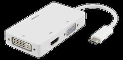 Deltaco USB-C till HDMI/DVI/VGA-adapter, 4K, DP Alt Mode, vit