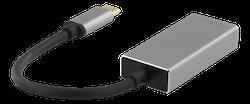 Deltaco USB-C till DisplayPort adapter, USB-C hane - DP hona, 3840x2160 i 60Hz, rymdgrå