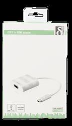 Deltaco USB 3.1 till HDMI adapter, USB typ C hane - HDMI 19-pin hona, 4K, UltraHD, vit