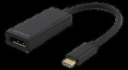 Deltaco USB 3.1 till DisplayPort adapter, USB typ C hane - DisplayPort 19-pin hona, 4K 4096x2160 i 60Hz, guldpläterade kontakter, svart