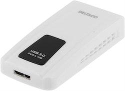 Deltaco Prime USB 3.0 till DVI/HDMI/VGA-adapter, fungerar som ett extra grafikkort, DVI-I Dual Link ho, USB 3.0 Typ Micro-B ho, 2048x1152, vit