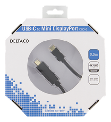 Deltaco USB 3.0 Typ C -> MiniDisplayPort 0,5m svart USBC-DP052-K
