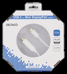 Deltaco USB 3.0 Typ C -> MiniDisplayPort 0,5m vit USBC-DP053-K