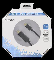 Deltaco USB 3.0 Typ C -> MiniDisplayPort 1m svart USBC-DP102-K