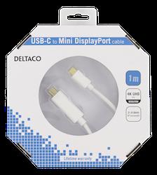 Deltaco USB 3.0 Typ C -> MiniDisplayPort 1m vit USBC-DP103-K