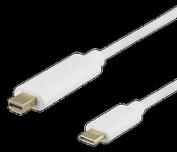 Deltaco USB 3.0 Typ C -> MiniDisplayPort 2m vit USBC-DP203-K