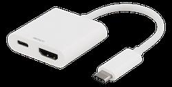 Deltaco USB-C till HDMI adapter, USB-C port för laddning, 60W, UltraHD, HDCP, vit