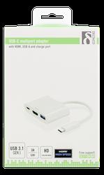 Deltaco USB-C till HDMI och USB A adapter, USB-C port för laddning, 1080P, USB 3.1 Gen1, vit