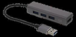 Deltaco USB Mini Hubb med fyra USB-A portar, USB 3.1 Gen 1, rymdgrå