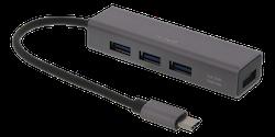 Deltaco USB-C Mini Hubb med fyra USB-A portar, USB 3.1 Gen 1, rymdgrå