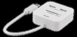 Deltaco USB-C SD-kortläsare och USB hubb, OTG, USB-A 2.0 480 Mbps, 18 cm kabel, vit