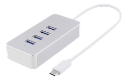 Deltaco USB-C hubb, 4x USB-A 3.1 Gen1, 0,9A, retail box, 0,1m kabel, silver