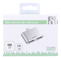 Deltaco USB-C mini hubb, 2x USB-A 2,0, 480 Mbps, 0,5A, silver