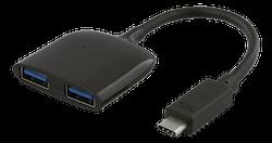 Deltaco USB-C mini hubb, 2x USB-A-portar 3.1, 5Gbps, 0,9A, 0,1m kabel, svart