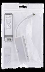 Deltaco USB-C hubb, 1x VGA full HD vid 60Hz, 3x USB-A 3.1, 0,9A delat på alla USB-portar, 0,1m kabel, vit