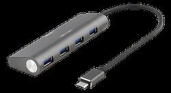 Deltaco 4-portars USB hubb, 18W 3,6A, USB 3.1 Gen1, 1xUSB-C ha, 4xUSB-A ho, GL3520 Chipset, aluminium, svart