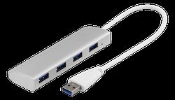 Deltaco USB 3.1 Gen 1 hubb, 4xTyp A hona, aluminium, silver