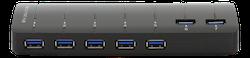 Deltaco USB 3.0 hubb, 7xTyp A ho, nätadapter medföljer, svart