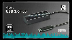 Deltaco USB 3.1 Gen 1 hubb, 4xType A ho, ABS-plast, svart