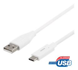 Deltaco USB 2.0 Typ A -> C 0,25m vit USBC-1007