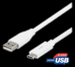 Deltaco USB 2.0 Typ A -> C 2m vit USBC-1011