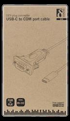 Deltaco USB-C till seriell kabel, RS-232, 1xDE9 ha, 1xUSB-C ha, inkl. parallell-adapter, 1,5m,  svart