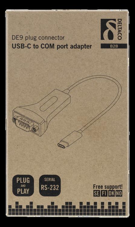 Deltaco USB-C till seriell adapter, RS-232, 1xDE9 ha, 1xUSB-C ha, 0,2m, svart