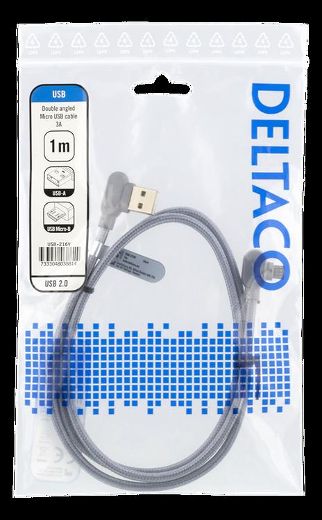Deltaco USB 2.0 Typ A -> Micro B 1m flätad grå USB-216V