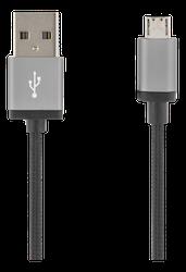 Deltaco USB 2.0 Typ A -> Micro B 2m tyg svart MICRO-113F