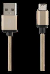 Deltaco USB 2.0 Typ A -> Micro B 1m tyg guld MICRO-111F