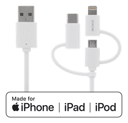 Deltaco USB Typ A -> C/Micro B/Lightning 0,5m vit IPLH-180