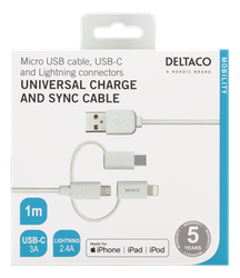 Deltaco USB Typ A -> C/Micro B/Lightning 1m vit IPLH-179