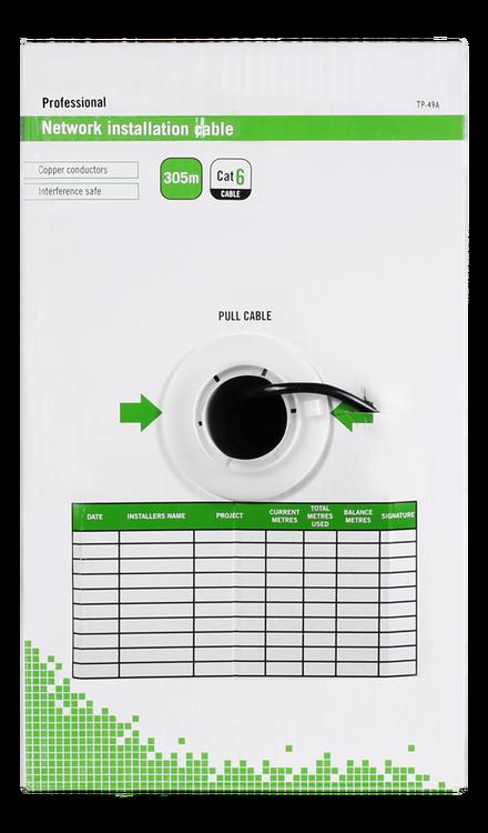 Deltaco U/UTP Cat6 installationskabel, för utomhusbruk, 305m box, 250MHz, Delta-certifierad, svart