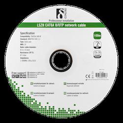 Deltaco U/UTP Cat6a installationskabel, 100m, 500MHz, Delta-certifierad, LSZH, vit