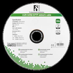 Deltaco U/FTP Cat6a installationskabel, 100m, 500MHz, Delta-certifierad, LSZH, vit