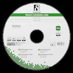 Deltaco S/FTP Cat6a installationskabel, för utomhusbruk, 100m rulle, 250MHz, Delta-certifierad, svart